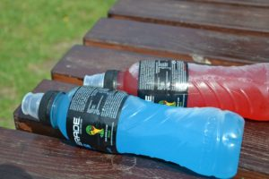 red and blue sports drinks
